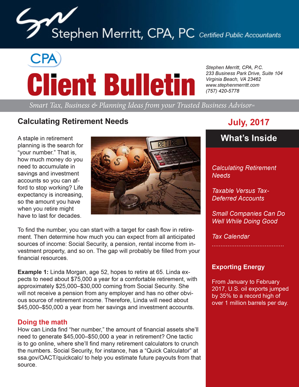 accounting newsletter july 2017