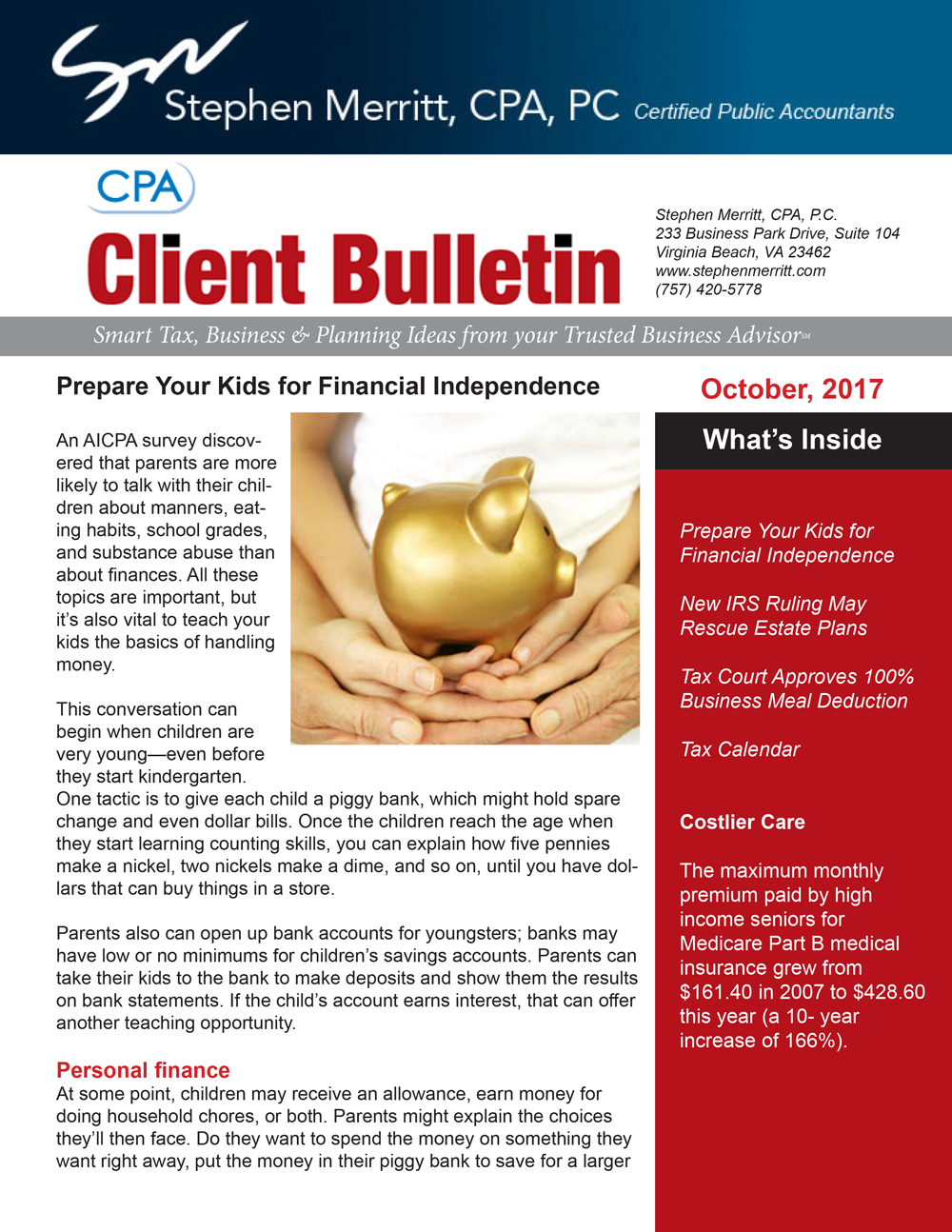 october accounting news from stephen merritt in virginia beach